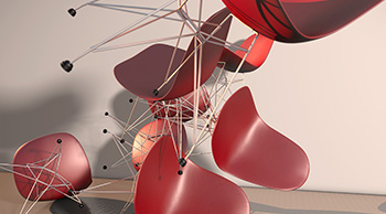 3D-Render flying chairs